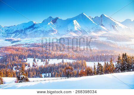 Winter Mountain Landscape. Clear Blue Sky Over Snowy Mountain Peaks In A Frosty Morning. Winter Sunr