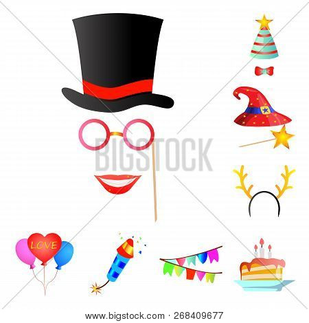 Vector Design Of Party And Birthday Icon. Collection Of Party And Celebration Vector Icon For Stock.