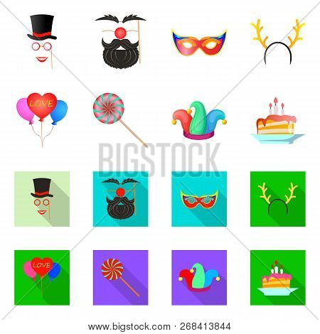 Isolated Object Of Party And Birthday Logo. Collection Of Party And Celebration Stock Vector Illustr
