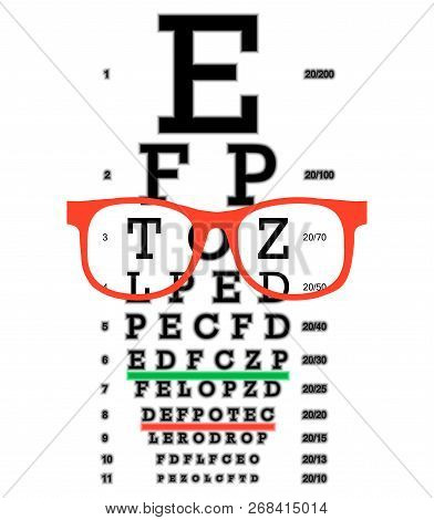 Eye Vision Test, Poor Eyesight Myopia Diagnostic On Snellen Eye Test Chart. Vision Correction With G