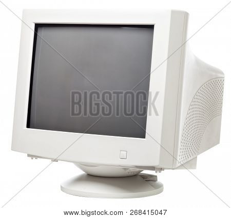 Vintage computer monitor with black screen isolated on white background