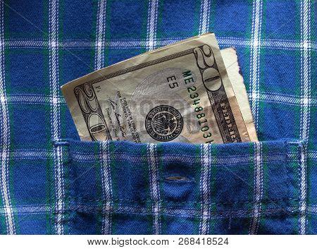 20 Dollars Stick Out Of Shirt Pocket, Busines Concept