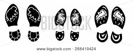 Footprints Of The Three Human: Mom, Dad And Daughter. Beautiful Boots Footsteps With A Drawings: Bea