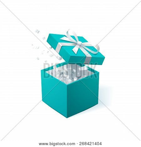 Promo Banner With Open Gift Box And Silver Confetti. Turquoise Jewelry Box. Template For Cosmetics J