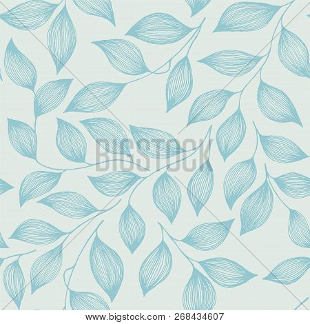 Wrapping Tea Leaves Organic Seamless Pattern Vector. Decorative Tea Plant Bush Blue Leaves Floral Fa