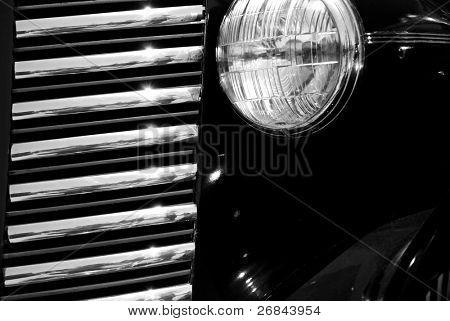 The front of black vintage car cabriolet