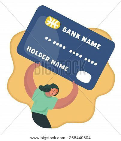 Vector Cartoon Illustration Of Credit Car. Woman Try To Lift Up Heaviest Big Giant Card Debt Burden,