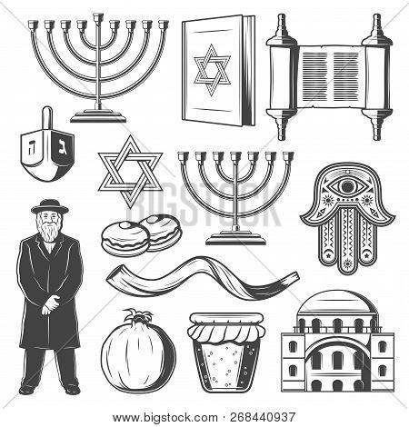 Judaism Religious Symbols. Vector Jewish Religion Icons Of Hanukkah Menorah Hanukiyot Lampstand, Dav