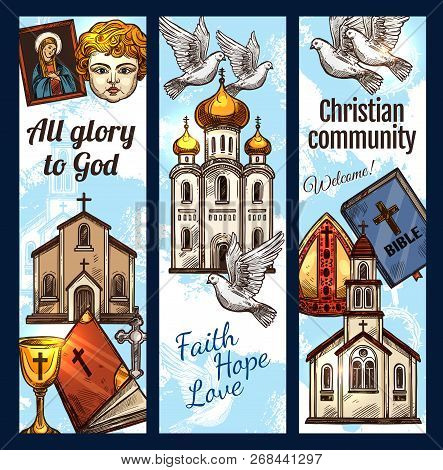 Christian Religious Sketch Posters, Orthodox Community Religion Symbols. Vector Catholic, Protestant