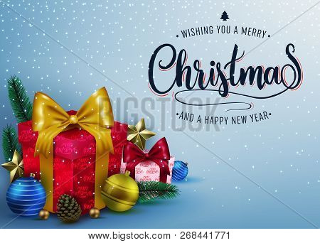 Decorative Christmas Poster Design With Gift Boxes, Stars, Pine Cone, Christmas Balls, Fir Branch An