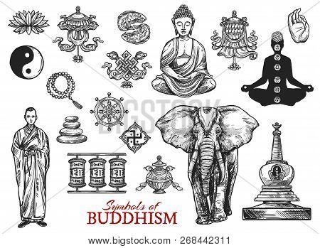 Buddhism Religious Sketch Symbols. Vector Buddha Monk Mudra In Zen Meditation, Yin Yang Fish Sign Or