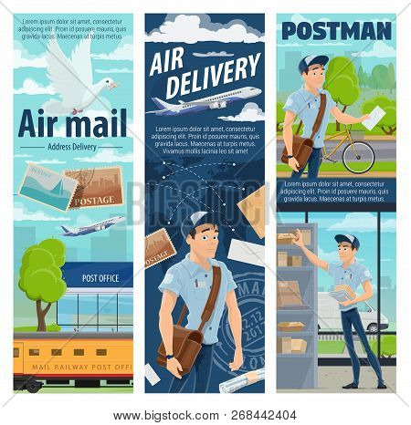 Air Mail Delivery And Mailman Profession, Postage Logistics. Vector Cargo Airplane And Train Freight
