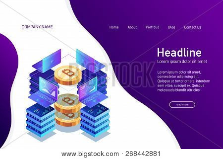 Concept Of Web Site Main Page, Landing Page With Isometry. Earning Cryptocurrency, Mining Bitcoin. L