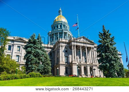 Denver , Colorado State Capitol Building With Blue Sky And Perfect Morning Sunshine In The Gorgeous