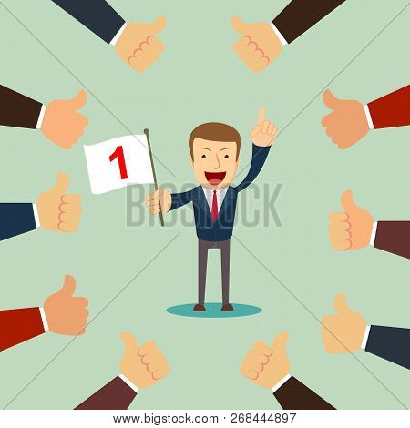 Many Hands Congratulate A Winner With Thumbs Up Sign. Stock Flat Vector Illustration.