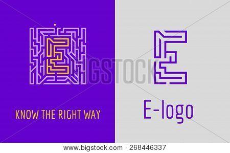 E Letter Logo Maze. Creative Logo For Corporate Identity Of Company: Letter E. The Logo Symbolizes L