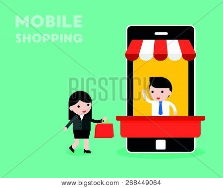 Businessman In Mobile Stall And Businesswoman Walking With Shopping Bag Vector, Mobile Shopping Conc