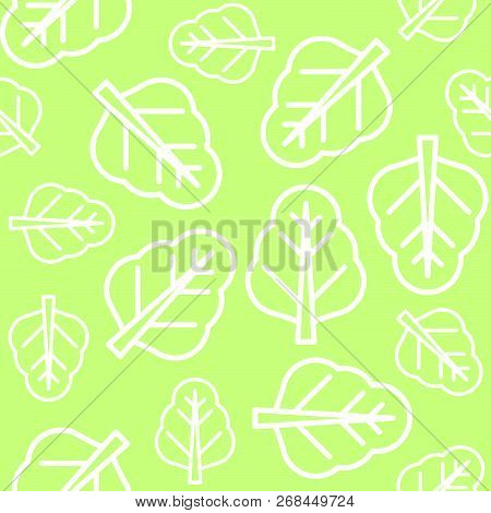 Chinese Kale Or Spinach Leaves Outline Vector Seamless Pattern