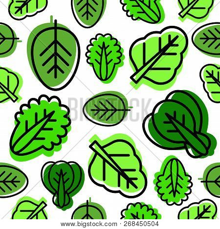 Seamless Pattern Of Vegetable Leaves Such As Kale, Spinach, Lettuce Outline And Green Shadow, Vector