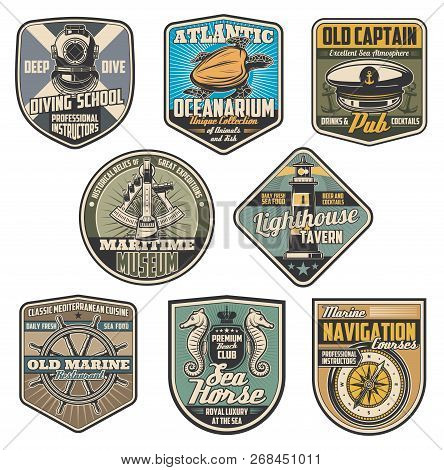Marine And Nautical Vintage Badges. Vector Diving Elment, Lighthouse And Captain, Sailor Cap And Sex
