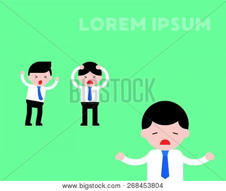 Two Panic Businessman With Careless Businessman, Conflict In Workplace Flat Illustration Concept