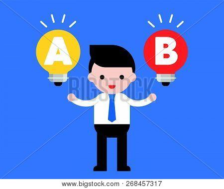 Businessman Stand Between Light Bulb Idea, Decision Making Choice Concept Flat Design