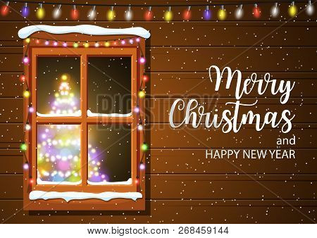 Christmas Window In Wooden Wall. Lighted Christmas Tree Happy New Year Decoration. Merry Christmas H