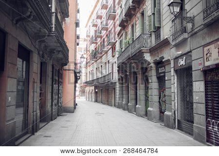 Barcelona, Spain - March 18, 2018: Morning on Canuda Street in Barcelona, Spain.