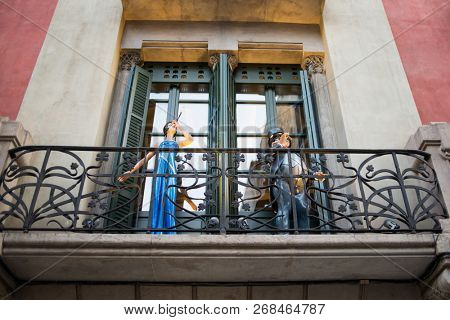 Barcelona, Spain - March 18, 2018: Vintage Statues on Arcs Street in Barcelona, Spain.