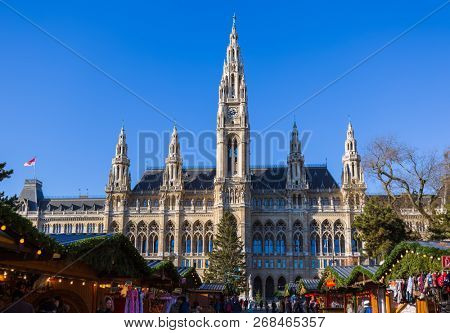 VIENNA, AUSTRIA - DECEMBER 29, 2016: Christmas Market near City Hall on December 29, 2016 in Vienna Austria.