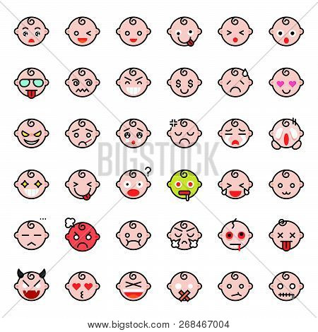 Baby Emoticon Filled Outline Icon Set 1, Vector Illustration