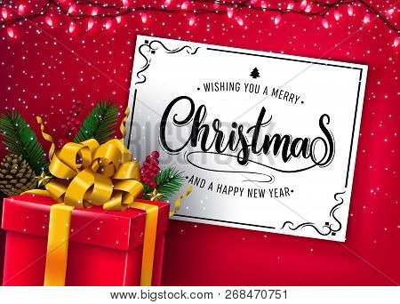 Christmas Vector Illustration With Christmas Lights And Red Gift Box In Red Color Background With Ho