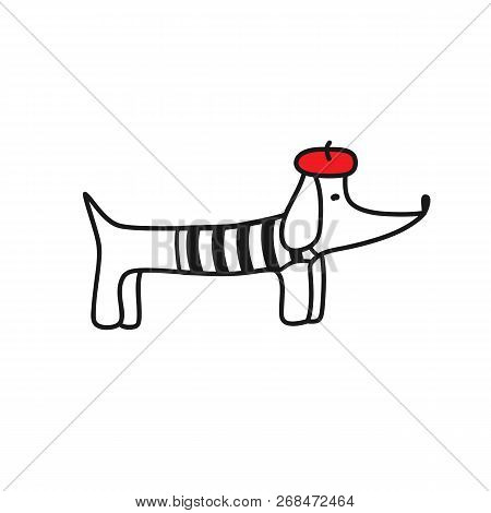 French Style Dog. Cute Cartoon Parisian Dachshund Vector Illustration. French Style Dressed Dog With