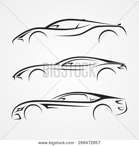 Elegance Car Sport Element Silhouette Style For Your Best Business Symbol. Car Shop Or Transport And