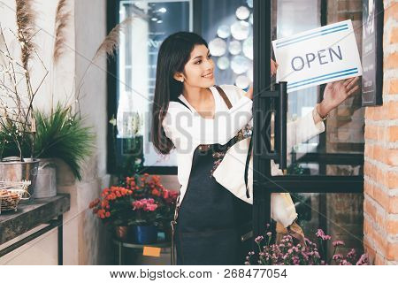 Confident Young Business Owner Flower Shop Store.
