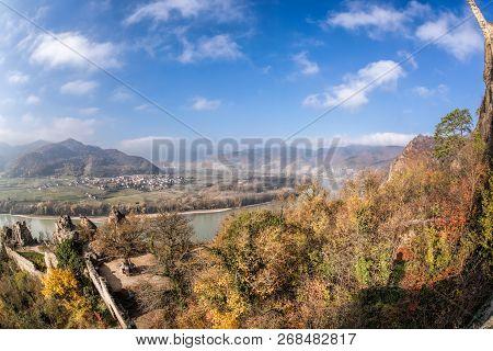 Panorama Of Duernstein Village With Castle During Autumn In Austria