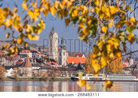 Krems Town With Danube River During Autumn In Austria