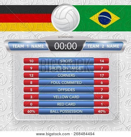 White Outline Volleyball Symbol With Two Coutry Flags And Statistic Frame
