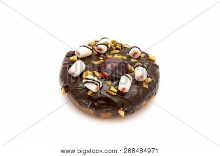 Chocolate Donut With White Chocolate And Nut Isolated On White Background. Clipping Path For Use