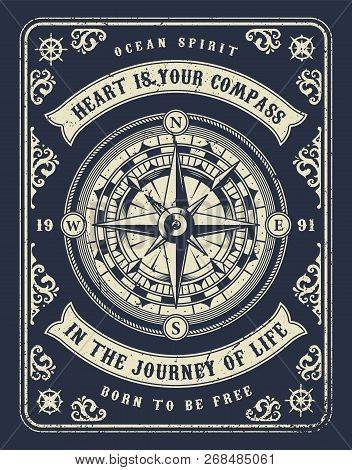 Vintage Nautical Concept With Navigational Compass Wind Rose And Inscriptions In Monochrome Style Ve