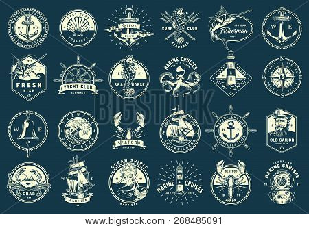 Vintage Monochrome Maritime Emblems Set With Nautical And Marine Elements On Blue Background Isolate