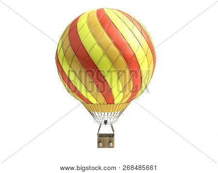 Hot Air Color Balloon 3d Render On White Background