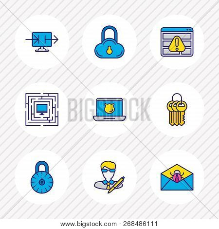 Illustration Of 9 Privacy Icons Colored Line. Editable Set Of Strong Password, Antivirus, Access Den