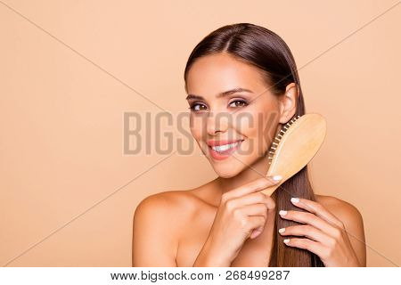 Leisure Lifestyle Cute Nice Pretty Lady With Her Naked Shoulders She Combing Hair With Wood Brush Is