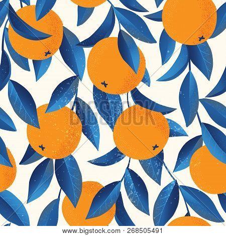 Tropical Seamless Pattern With Oranges. Fruit Repeated Background. Vector Bright Print For Fabric Or