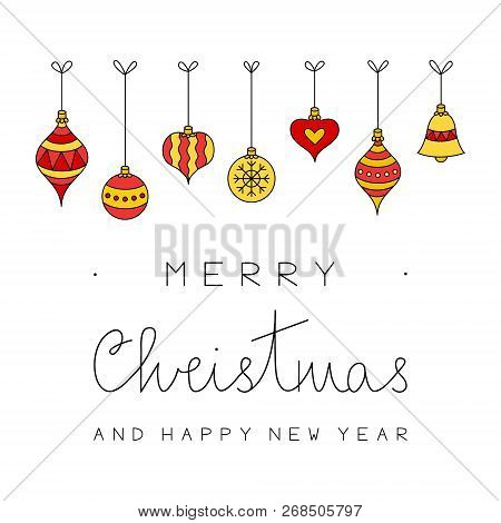 Merry Christmas And Happy New Year Vector Illustration. Hand Drawn Christmas Greeting Card With Xmas