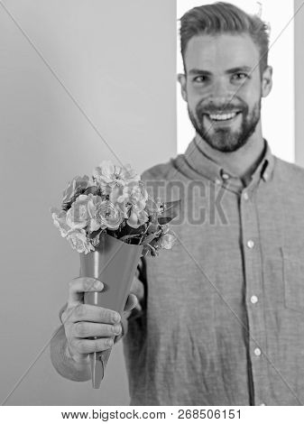 This Is For You Macho Gives Flowers As Romantic Gift. Boyfriend Happy Holds Bouquet Flowers. Guy Bri