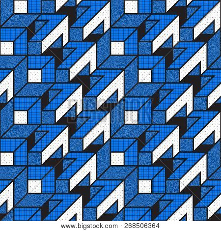 Vector Geometric Seamless Patterns With Textured Bold Mathematical Shapes