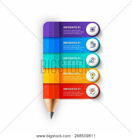Abstract Infographic Pencil Template. Can Be Used For Education Infographic With 5 Options.