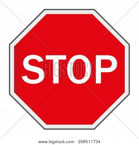 Red Stop Sign Isolated On White Background. Traffic Regulatory Warning Stop Symbol. Vector Illustrat